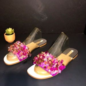 Zara Slides with Beads Sandals, Pink, Size 6.5 New